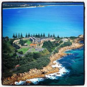 Trial Bay Gaol, with South West Rocks in the background, as seen from the air.