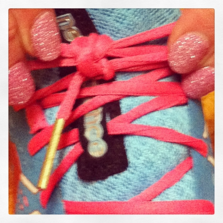Tying my shoes in a certain way.