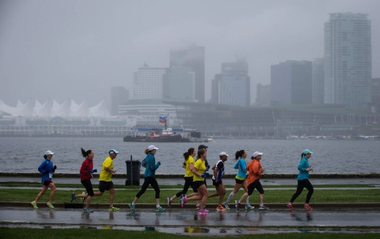 Runners in the rain.