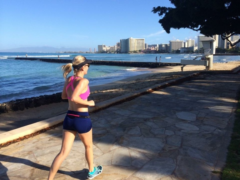 Running along Waikiki beach in my new ON running shoes!