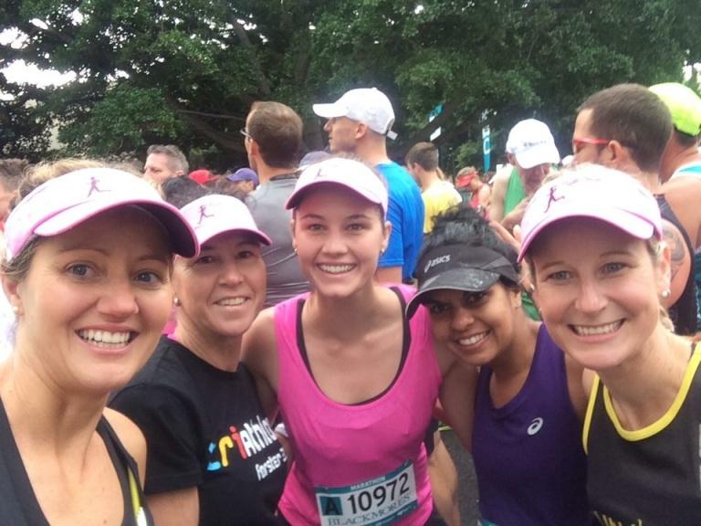 Kellie, Leanne, Grace, Teela and Kirby on the start line.