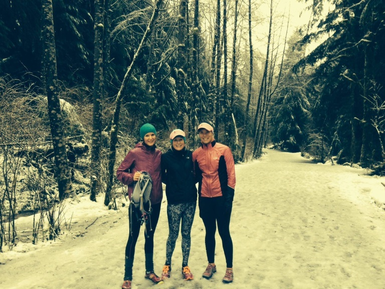 Lauren, Kirby and Pip: 13km of ice-cold fun!