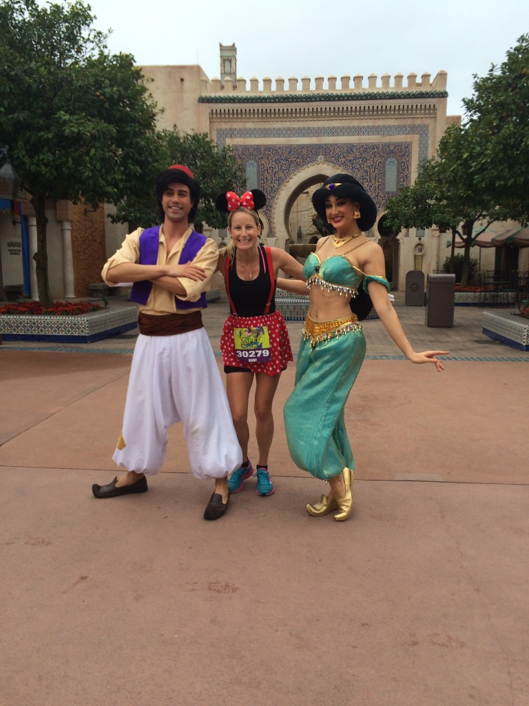 With Aladdin and Jasmine in Epcot.