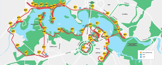 The Canberra Marathon course.