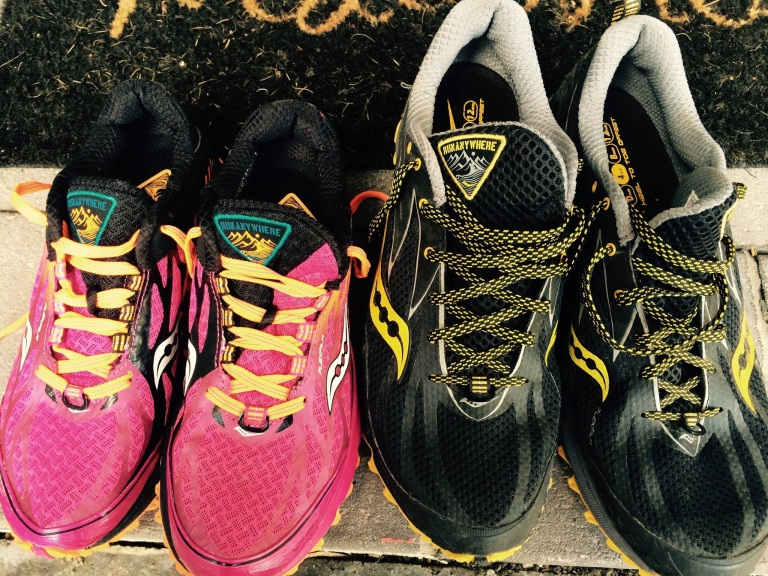 His n Hers trail shoes.