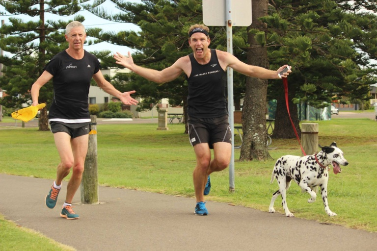 Doddy, Robbo and Bella the Dalmatian at parkrun.